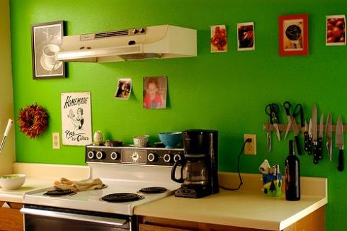 Cozinha parede verde