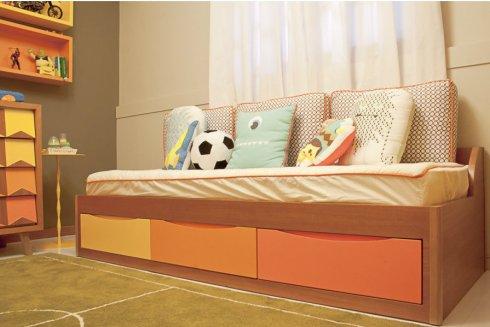 degradê cama solteiro com gavetas ameise design